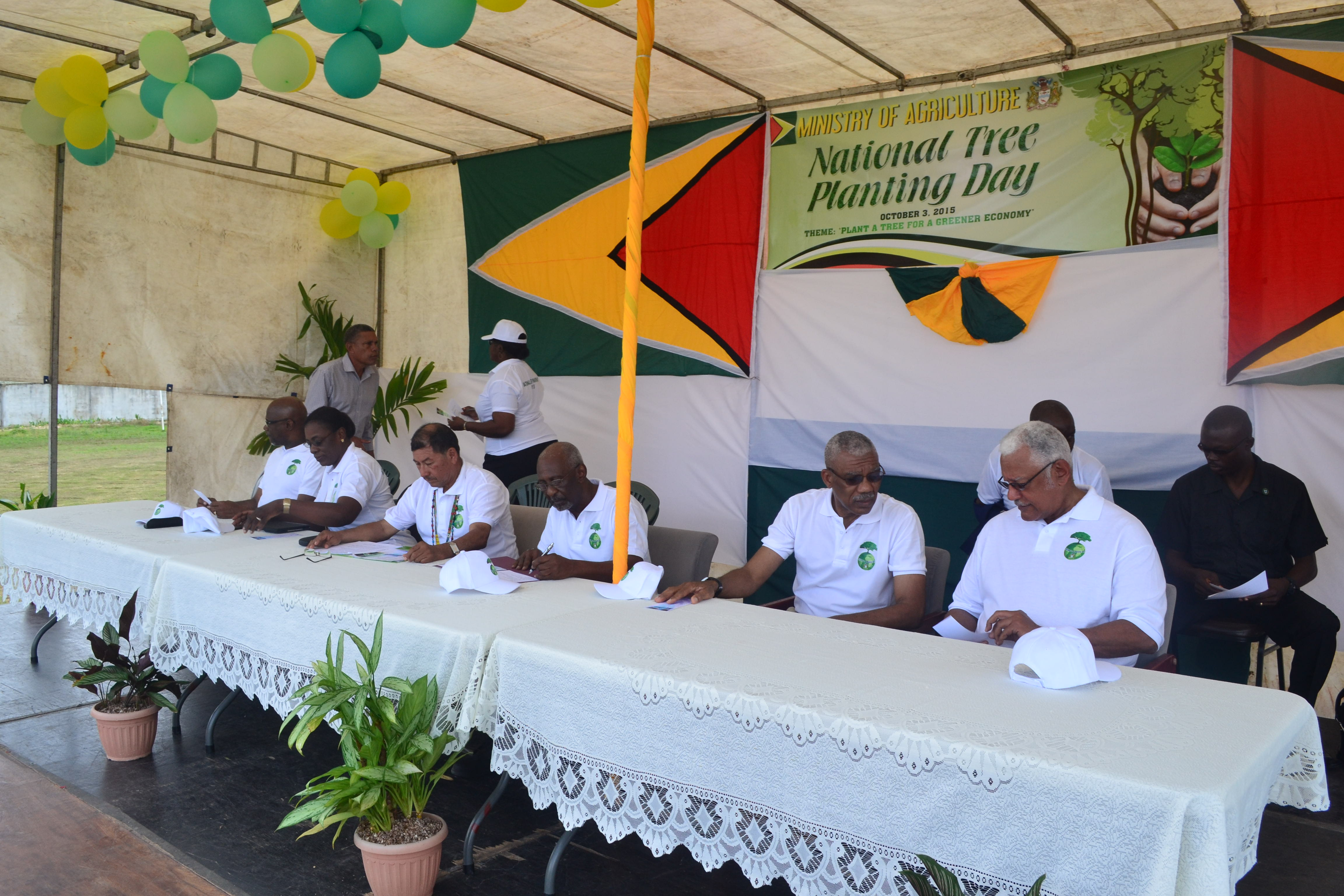 Our nation's leaders at the National Tree Planting activity in Bartica