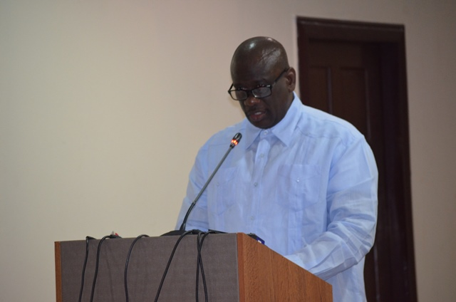 Justin Rennie, outgoing Chairman, Caribbean Fisheries Forum (CFF) addressing the gathering at the forum
