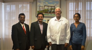 Minister Noel Holder with the Indian investors and Ms Natasha Beerjit-Deonarine (Monitoring and Evaluation Coordinator)