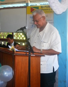 Agriculture Minister Noel Holder during his feature address at the handing over ceremony for the East Demerara Water Conservancy project