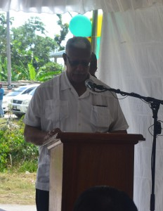 Agriculture Minister Noel Holder while delivering remarks  at the commissioning of the Access Roads Rehabilitation Project at Parika