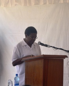 CEO (ag) of NDIA Mr. Freddy Flatts delivering remarks at  the commissioning of the all access roads rehabilitation project at Parika
