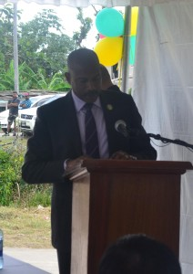 CEO of teh CARICOM Development Fund Mr. Rodinald Soomer  whild delivering remarks at the commissioning of the Access Rpads  Rehabilitation Project at Parika