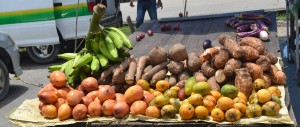 Fruits and vegetables on sale at the market