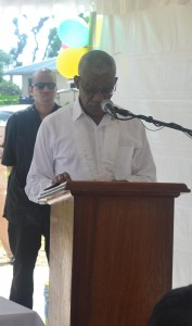 H.E. President Granger while delivering the feature  address at the commissioning of the Access Roads Rehabilitation  Project