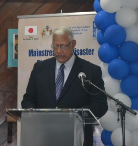 Minister Holder Delivering the feature address at the DRRM UNDP Project Launch
