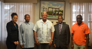 Minister Holder (centre) with Ambassador HE George Talbot (left) and Ambassador HE David Hales (right), PS George Jervis (far right) and Ministry of Foreign Affairs Representative (far left).