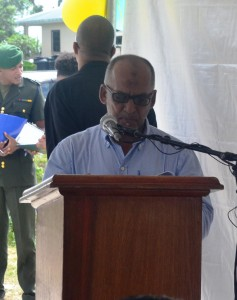Mr. Sheik Ayube, Regional Vice Chairman of Region 3 while  delivering remarks at the commissioning of the access roads rehabilitation  project at Parika