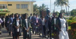 GSA 2016 graduates while doing their walk to the hall for the graduation ceremoney