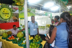 Persons visiting NAREI's booth at the Berbice Expo
