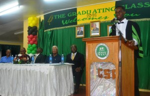 St. Kitts national and graduating student of GSA, Mr. Shevaun Johnson while delivering the vote of thanks at the graduation ceremoney.