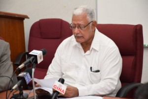 Hon. Noel Holder, Minister of Agriculture during Ministry's End of Year Press Conference