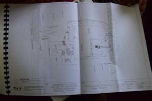 A copy of the construction plan for the drainage pump station that will be constructed at Buxton