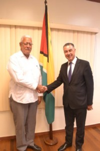 Minister of Agriculture, Noel Holder shakes hand with Egypt Non-Resident Ambassador, H.E Mr. Alaaeldin Wagih Roushdy during a courtesy call