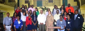 Minister Holder is with the representatives of the Ministry of Agriculture, FAO, CDEMA and participants of the workshop