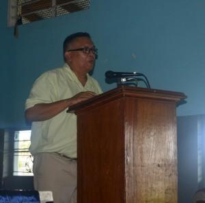 Denzil Roberts while delivering remarks
