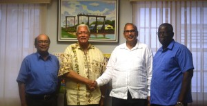 From left - NAREI CEO, Dr. Oudho Homenauth, Agri. Minister, Noel Holder, CATIE Director General, Muhammad Ibrahim, PH. D and GLDA CEO, Nigel Cumberbatch