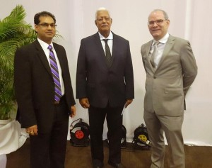 L to R - Mr. Soeresh Algoe, Minister of Agriculture, Suriname, Hon. Noel Holder, Minister of Agriculture, Guyana and Mr. Pedro MArtel, IDB Rural Development Division Chief