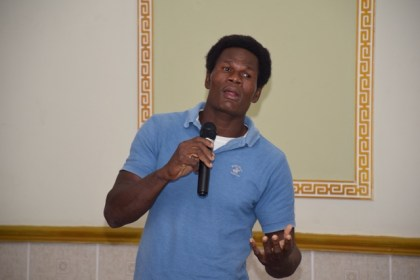 Dexter Sultan, from Sanvoort, Canje Region Six, a participant in the onion pilot project.