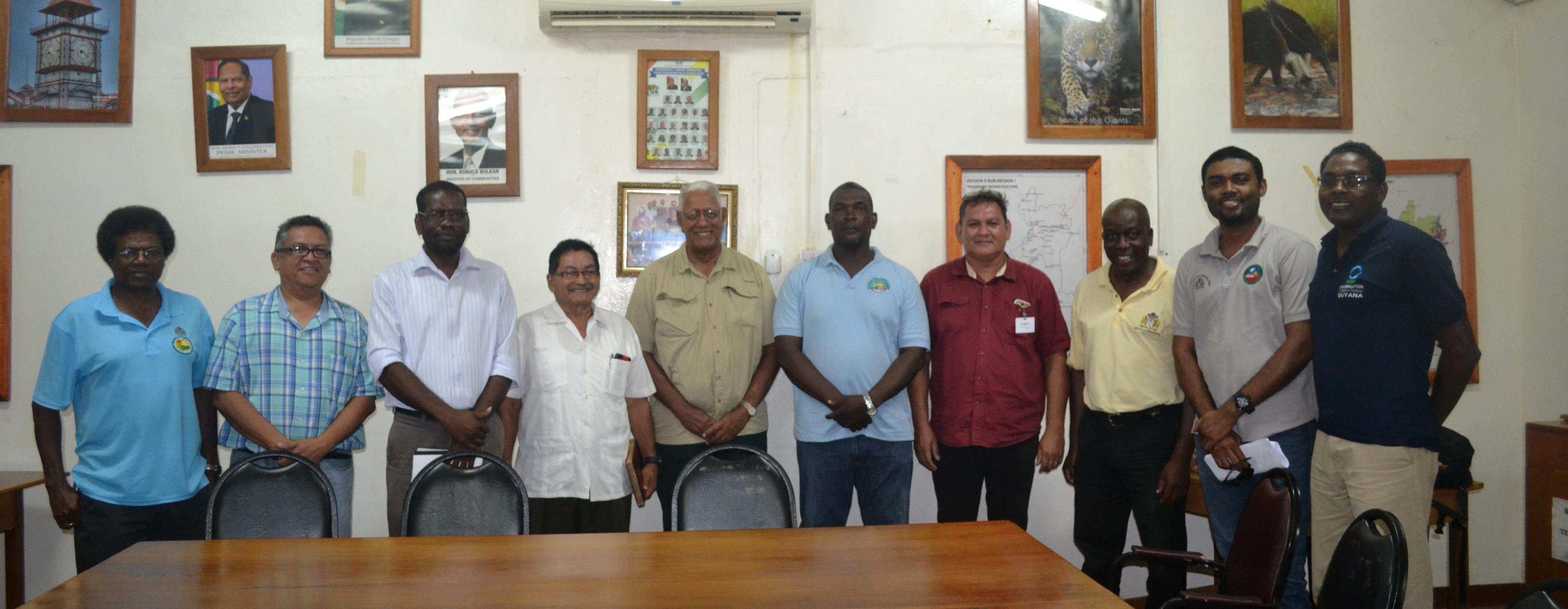 From left- NDIA CEO Fredrick Flatts, Chief Fisheries Officer Denzil Roberts, REO Kerwin Ward