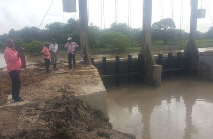 MMA ADA officials at the recently rehabilitated Trafalgar Union sluice.,