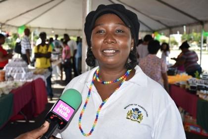 Permanent Secretary (ag.) Ministry of Agri. Joylyn Nestor-Burrow at Market Day.