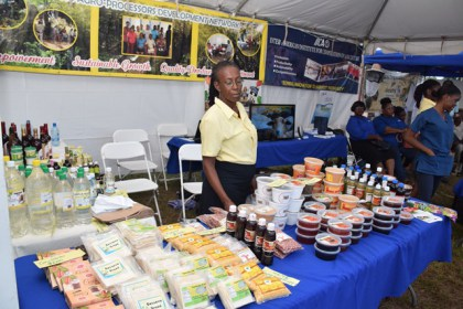 Processed agricultural produce on display at World Food Day 2017.