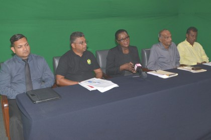 Public Relations Officer of GUYSUCO Audreyanna Thomas (centre) and GUYSUCO executives at the press conference.
