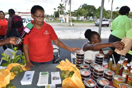 Women Agro-processor Network display their locally produced tinctures and food products.