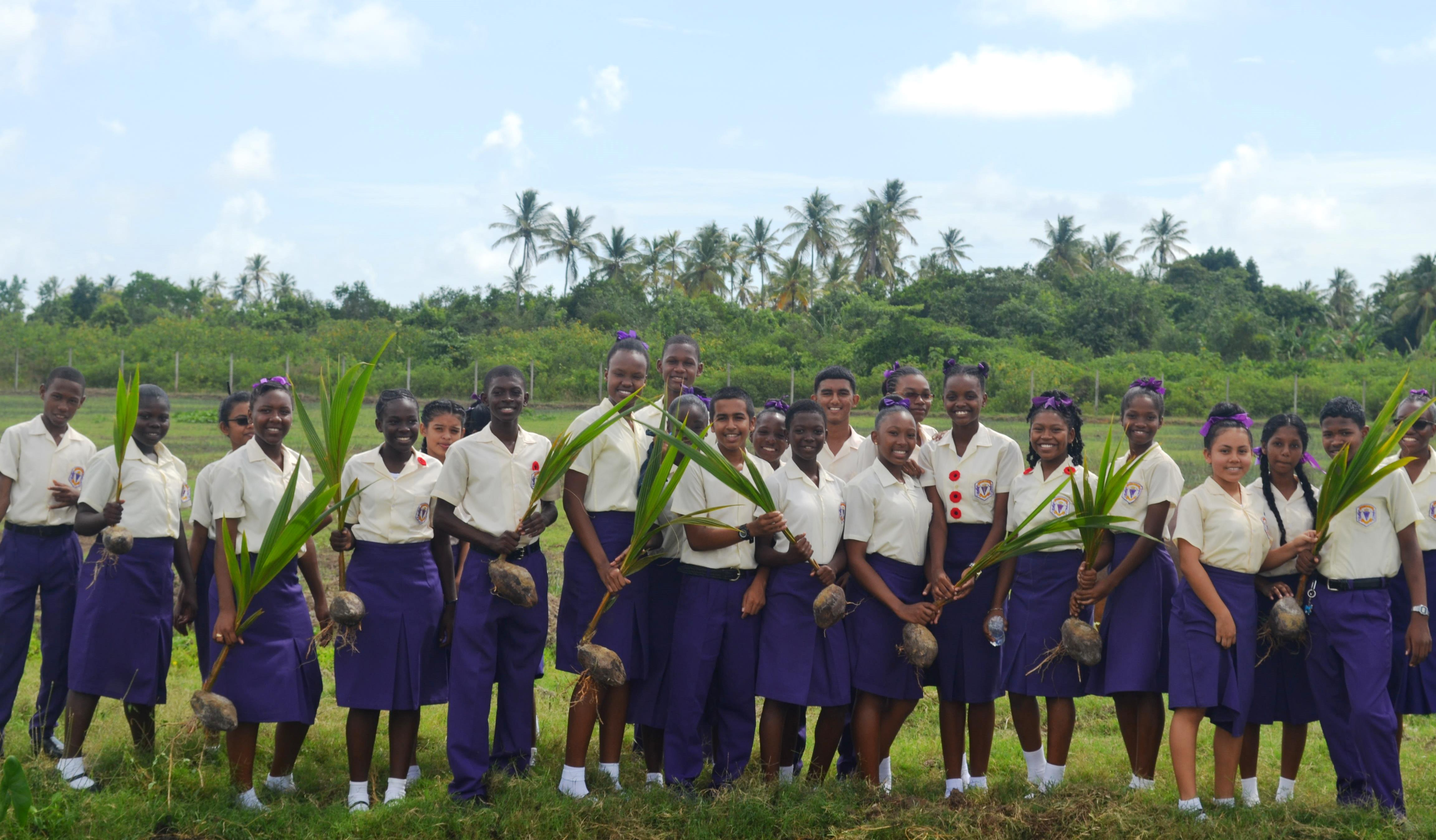 Students from the Presidents College Agriculture Science Department with some of the coconut seedlings