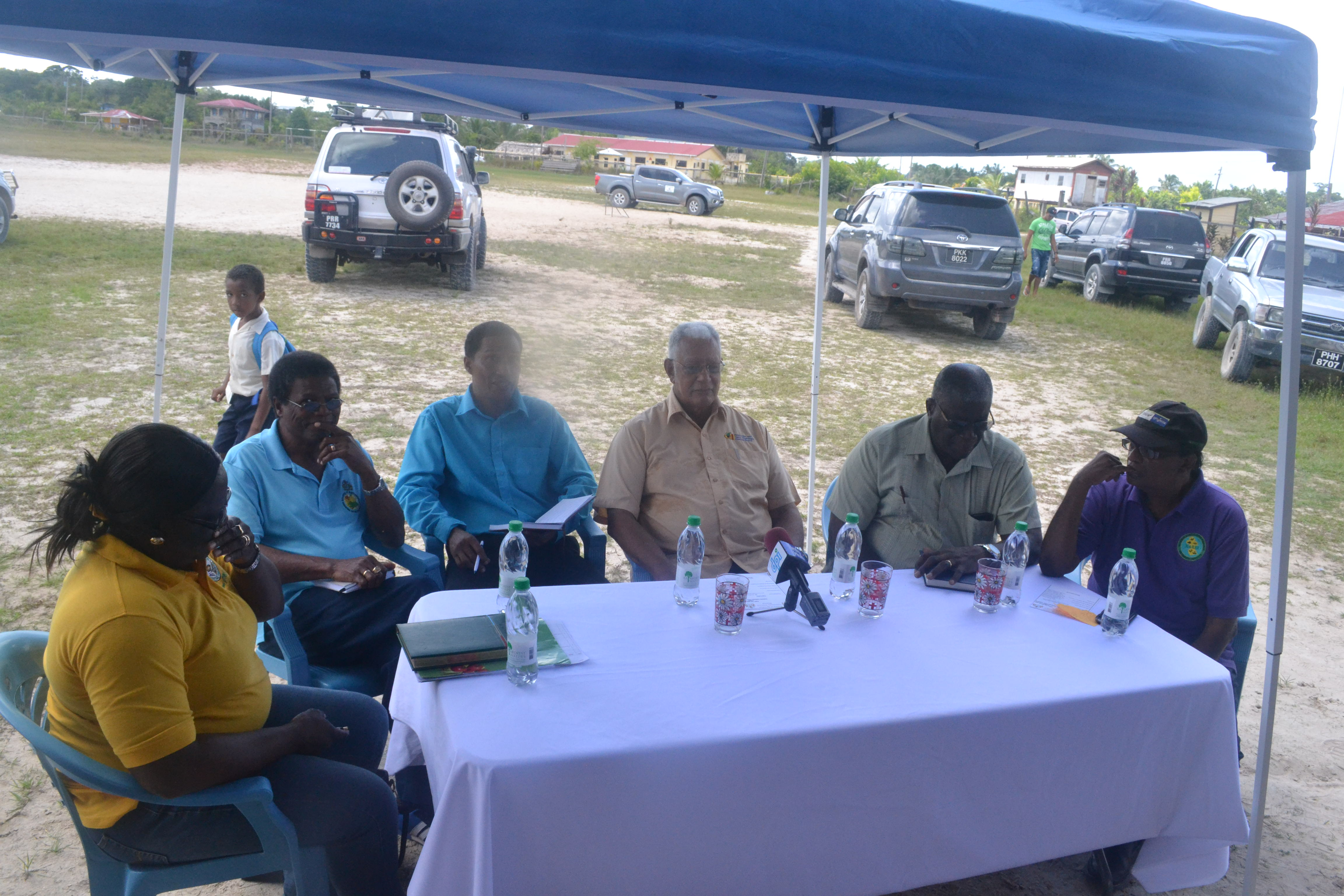 L-R GMC GM, Ida Sealey-Adams, NDIA CEO, Fredrick Flatts, CDC Chairman and NDC Rep. Dexter Harding, Agriculture Minister Noel Holder, GLDA CEO, Nigel Cumberbatch and NAREI CEO Oudho Homenauth