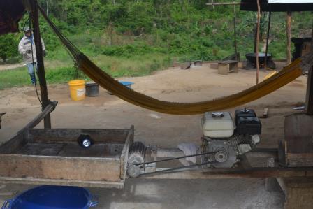 A cassava processing machine at Bamboo Creek