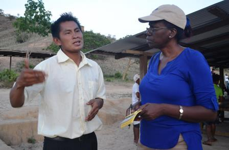 Permanent Secretary, Demla Nedd in dialogue with the Toshao of Kanapang