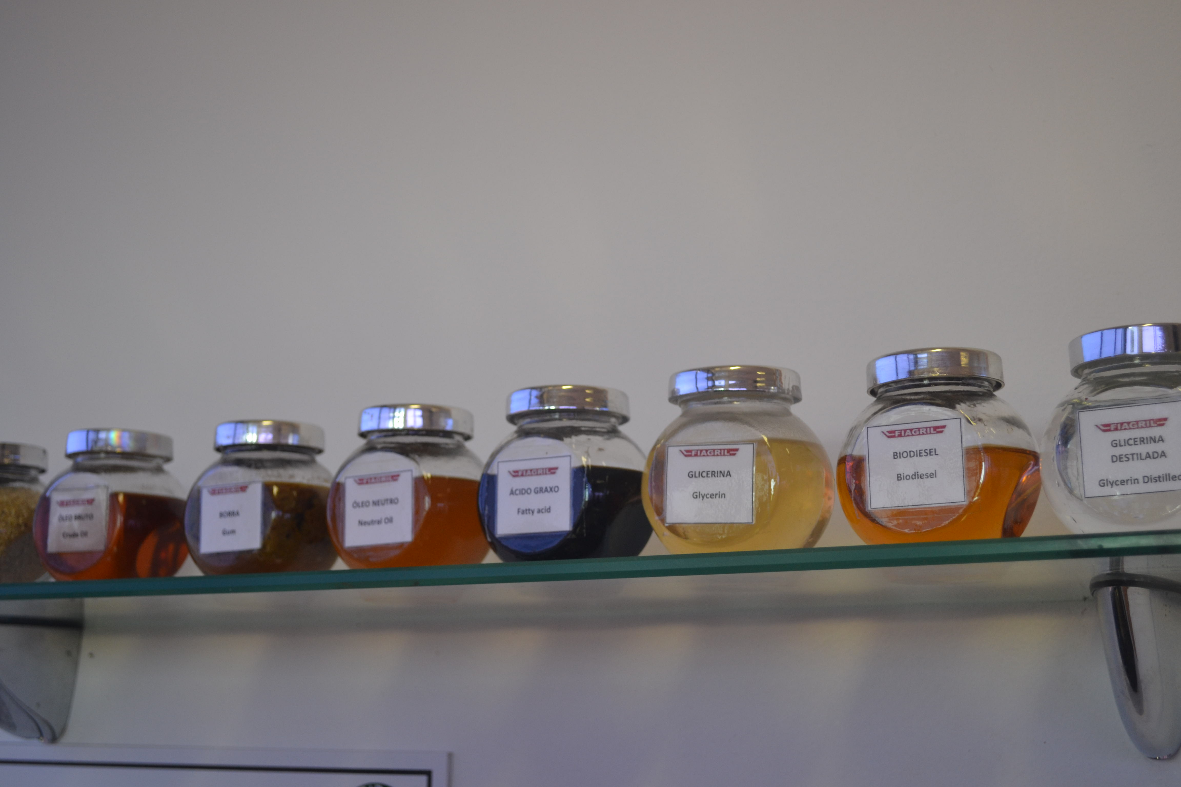 Samples of different products produced in the bioenergy plant