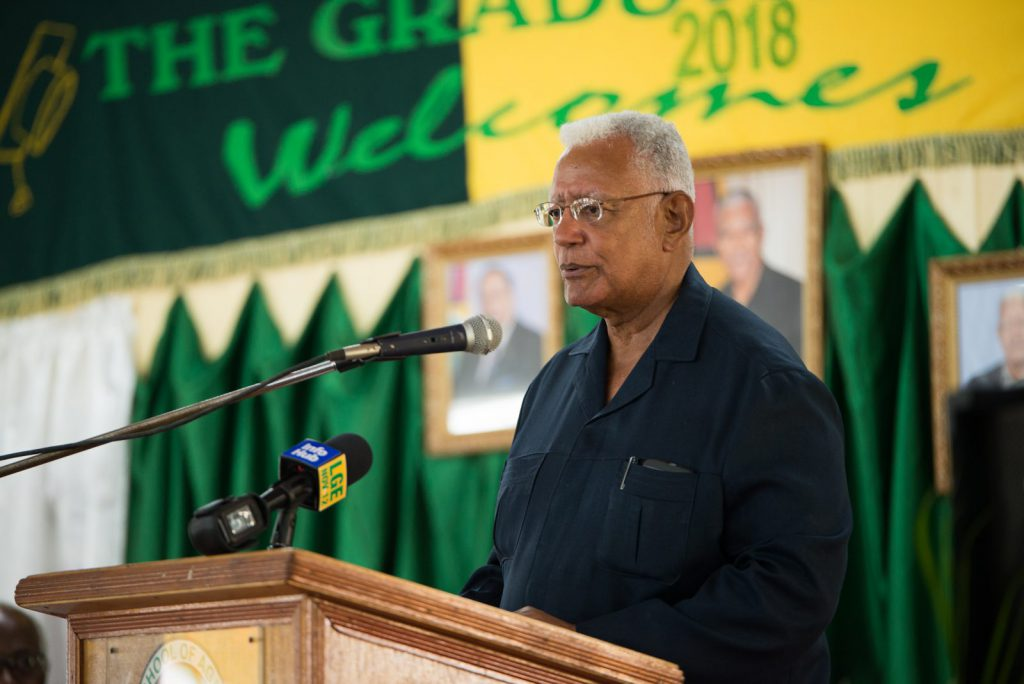 Minister of Agriculture, Noel Holder delivering the feature address at the Guyana School of Agriculture's (GSA) 54th graduation exercise