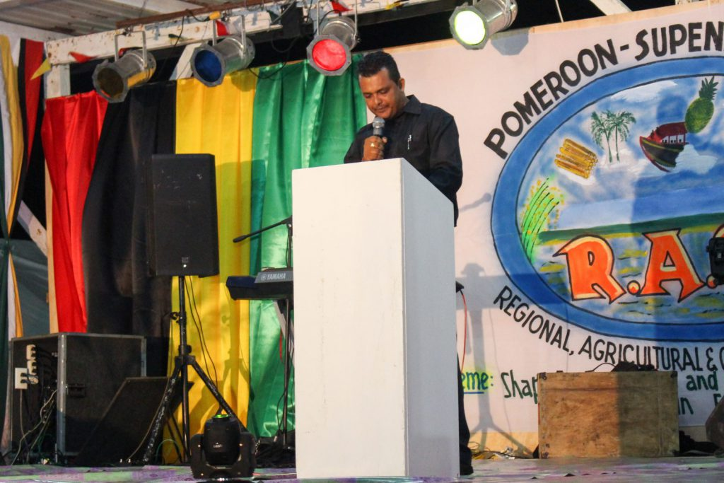 Regional Chairman, Devanand Ramdatt addressing the audience at the opening of the exposition