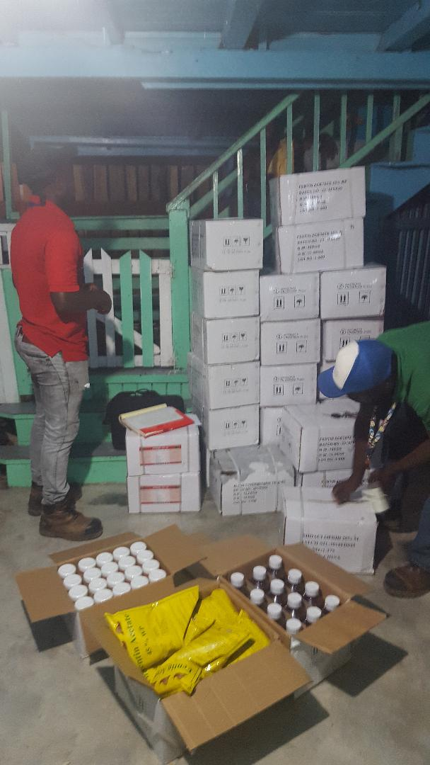 Inspectors confiscating the illegal pesticides at Mr. Armogan's residence,,