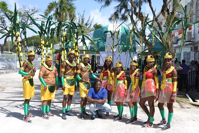 Costume designer, Jermaine Broomes and some of the revellers