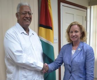 Agriculture Minister, Noel Holder is pictured with new US Ambassador to Guyana, Sarah-Ann Lynch during the courtesy call