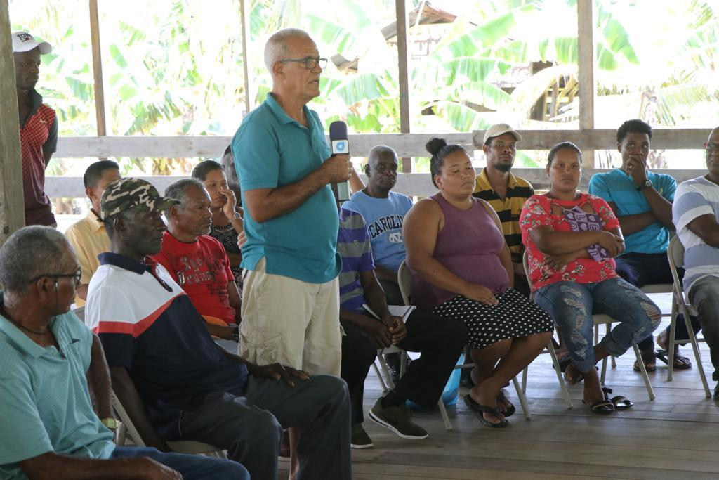 One of the coconut farmers making a point during the meeting