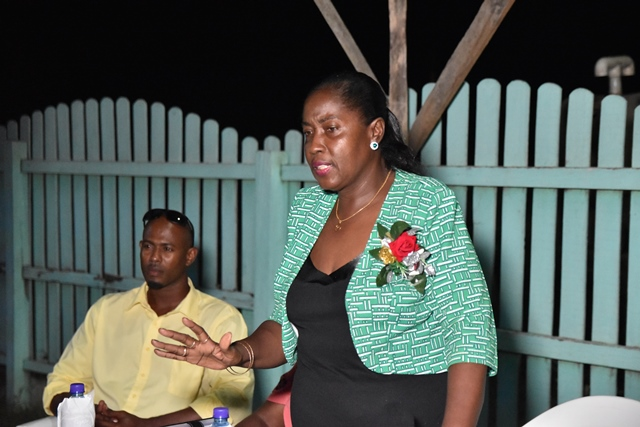 Minister within the Ministry of Agriculture, with responsibility for Rural Affairs, Hon. Valarie Adams-Yearwood during her engagement with the residents of Straat Campbell, Mahaicony, Region 5.