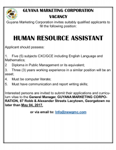 The Guyana Marketing Corporation Vacancy   Ministry of Agriculture